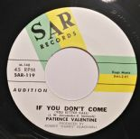 "45Re ✦PATIENCE VALENTINE✦ ""If You Don't Come/I Miss You So"" Killer R&B Stroller♫"